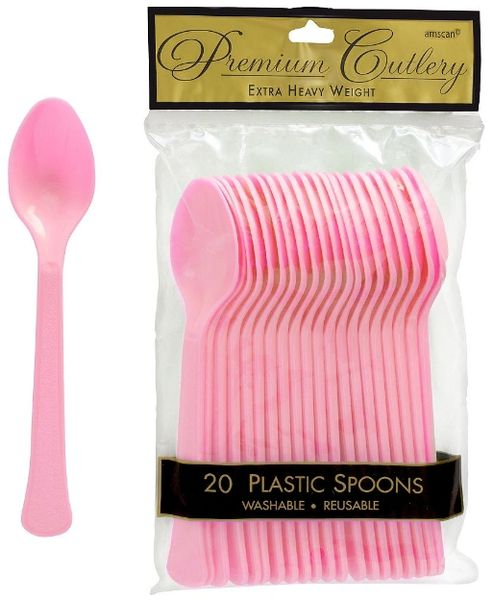 New Pink Premium Heavy Weight Plastic Spoons, 20ct