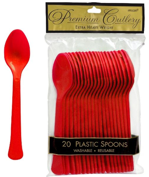 Apple Red Premium Heavy Weight Plastic Spoons 20ct