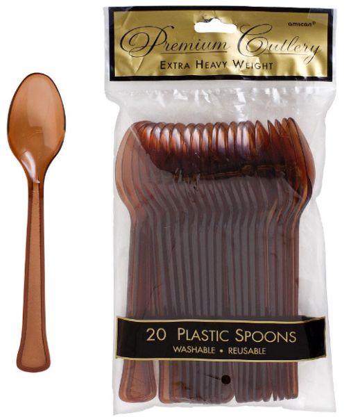 Chocolate Brown Premium Heavy Weight Plastic Spoons 20ct
