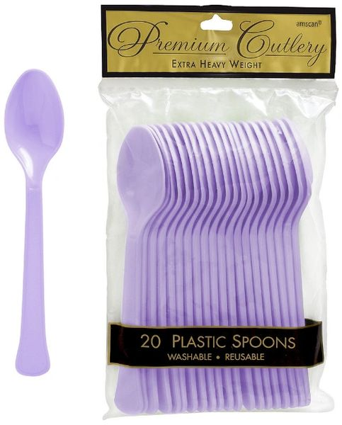 Lavender Premium Heavy Weight Plastic Spoons 20ct
