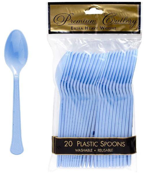 Pastel Blue Premium Heavy Weight Plastic Spoons, 20ct