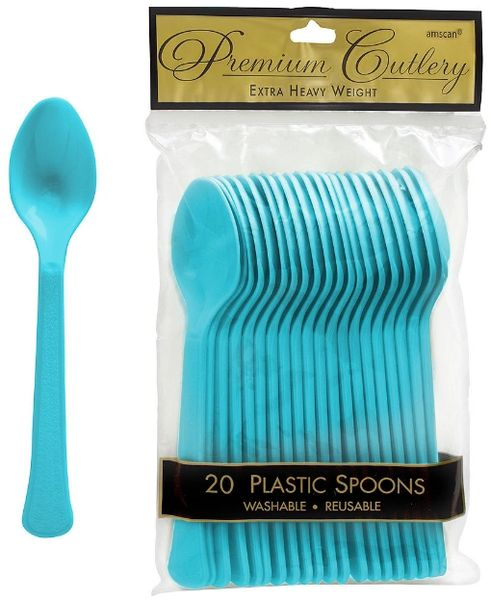 Caribbean Blue Premium Heavy Weight Plastic Spoons 20ct
