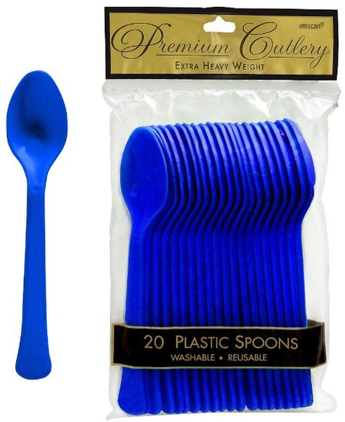 Bright Royal Blue Premium Heavy Weight Plastic Spoons, 20ct