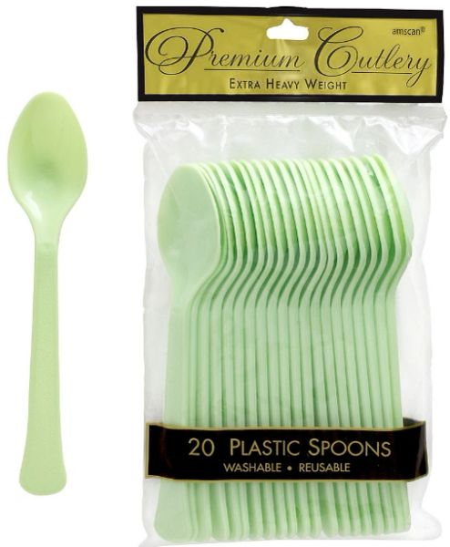 Leaf Green Premium Heavy Weight Plastic Spoons 20ct
