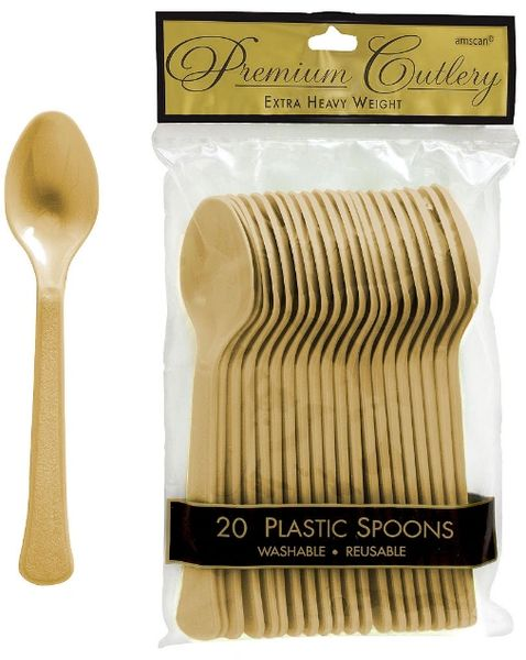 Gold Premium Heavy Weight Plastic Spoons, 20ct