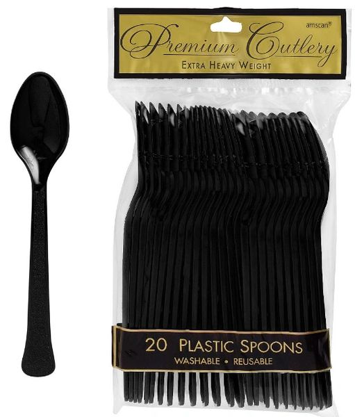 Jet Black Premium Heavy Weight Plastic Spoons, 20ct