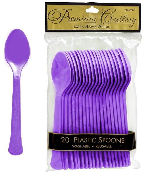 Purple Premium Heavy Weight Plastic Spoons 20ct