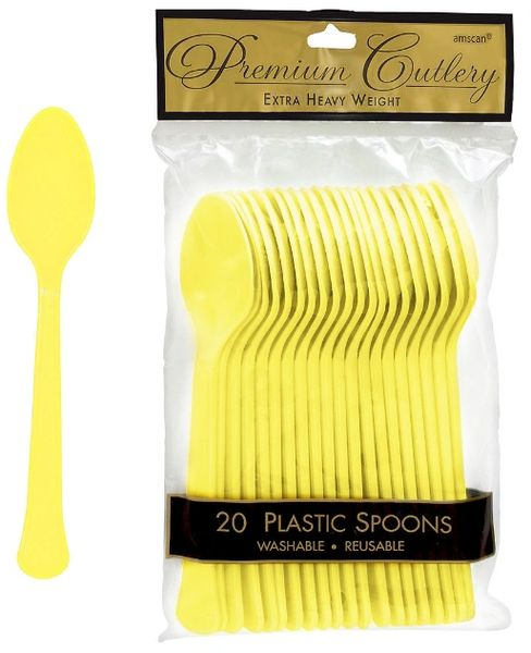 Light Yellow Premium Heavy Weight Plastic Spoons 20ct