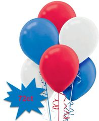 Red, White & Blue Latex Balloons, 72ct