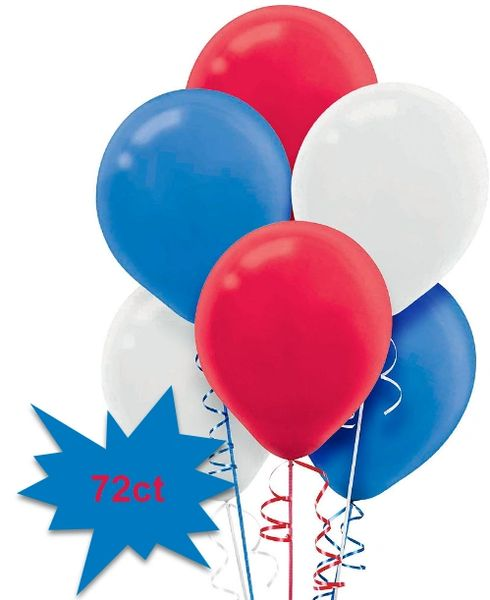 Red, White & Blue Latex Balloons, 72ct No Helium Included