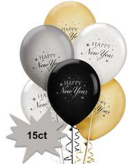 Latex Balloons - Black, Silver & Gold, 15ct