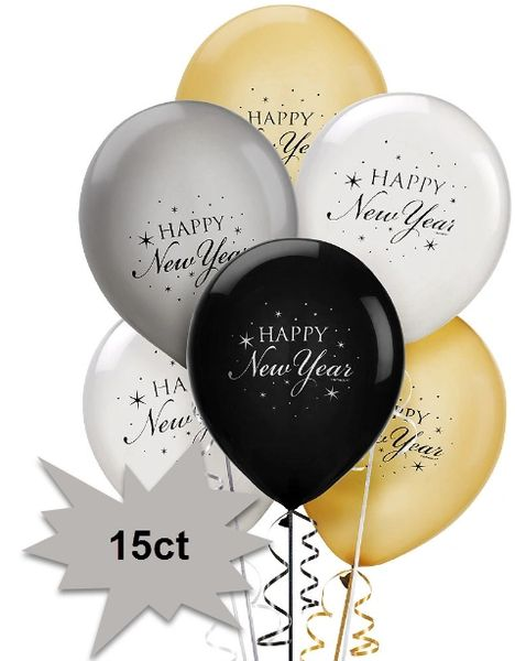Happy New Year Latex Balloons - Black, Silver & Gold, 15ct