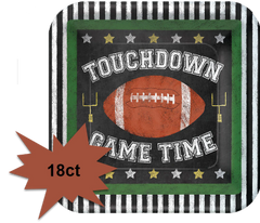 Football Game Time Square Lunch Plates, 18ct