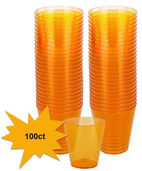 Big Party Pack Orange Plastic Shot Glasses, 100ct