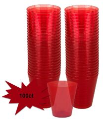Big Party Pack Red Plastic Shot Glasses, 100ct