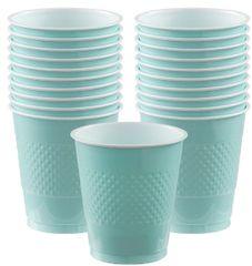 Robin's-Egg Blue Plastic Cups, 12 oz. 20ct