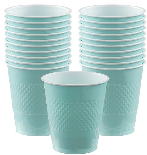 Robin's-Egg Blue Plastic Cups, 12 oz. 20ct