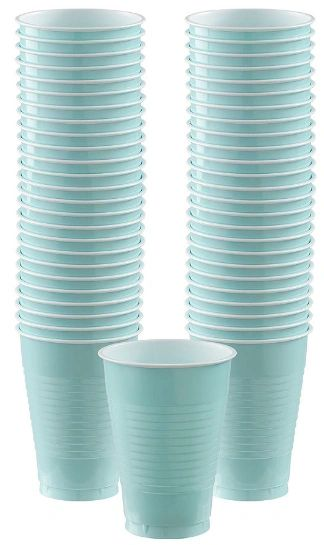 Big Party Pack Robin's Egg Blue Plastic Cups, 12oz - 50ct