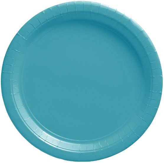 """Big Party Pack Caribbean Blue Lunch Paper Plates, 9"""" - 50ct"""