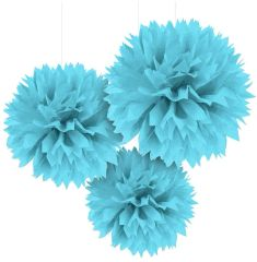 Caribbean Blue Fluffy Paper Decorations, 3ct