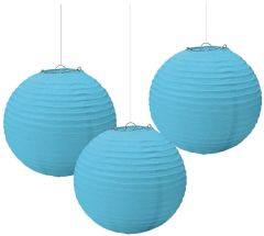 Caribbean Blue Paper Lanterns, 3ct