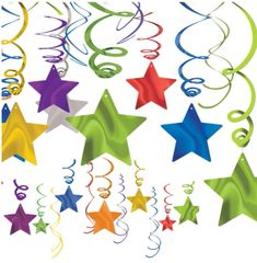 Rainbow Star Swirl Decorations, 30ct