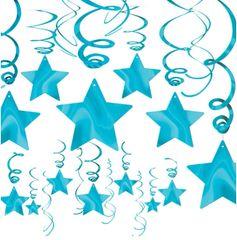 Caribbean Blue Star Swirl Decorations, 30ct