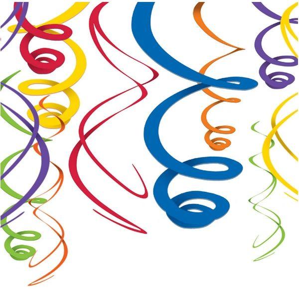 Rainbow Plastic Swirl Decorations, 12ct