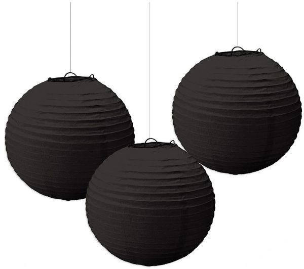 Jet Black Round Paper Lanterns, 3ct