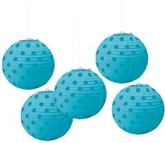 Caribbean Blue Polka Dot Paper Lanterns, 5ct