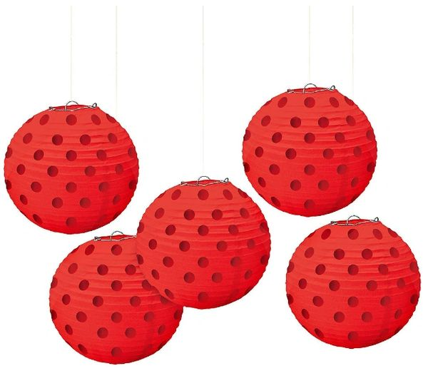 Mini Hot Stamp Lanterns - Apple Red, 5ct