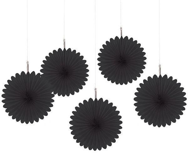 Jet Black Mini Hanging Fan Decorations, 5ct