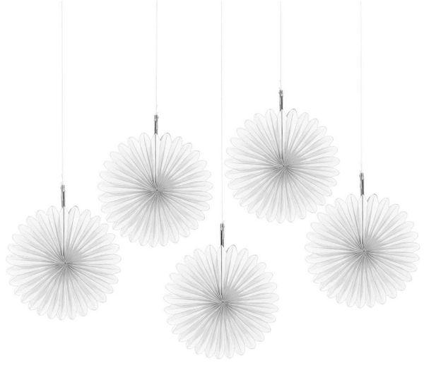 Frosty White Mini Hanging Fan Decorations, 5ct