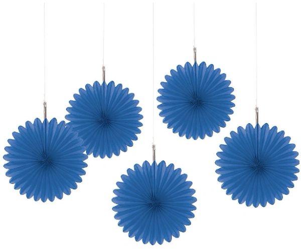 Bright Royal Blue Mini Hanging Fan Decorations, 5ct