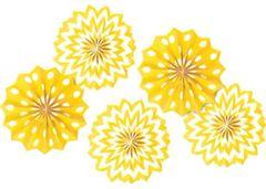 Yellow Sunshine Polka Dot & Chevron Mini Paper Fan Decorations, 5ct