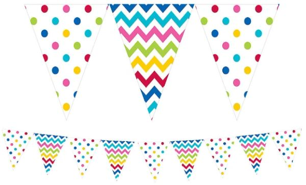 Bright Rainbow Patterned Pennant Banner, 12ft
