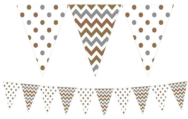 Metallic Polka Dot & Chevron Pennant Banner, 15ft