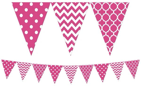 Large Printed Pennant Banners - Bright Pink, 12ft