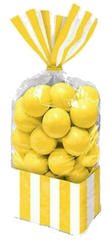 Yellow Sunshine Striped Treat Bags, 10ct