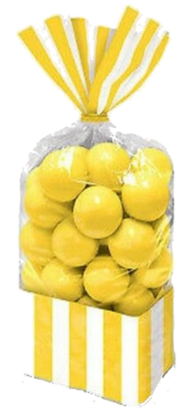 Yellow Sunshine Striped Treat Bags, 10ct