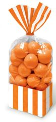 Orange Striped Party Bags, 10ct