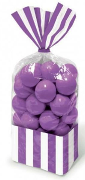 New Purple Striped Party Bags, 10ct