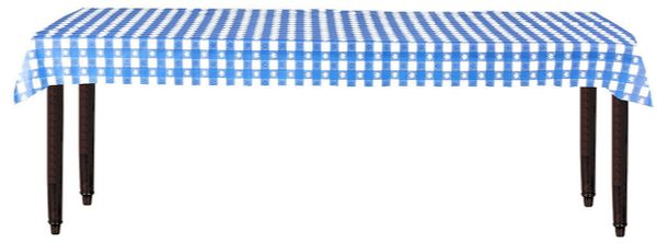 "Gingham Check Blue Printed Plastic Table Roll, 40"" x 100'"
