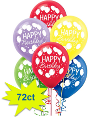 Balloon Bash Latex Balloons Assorted Colors, 72ct