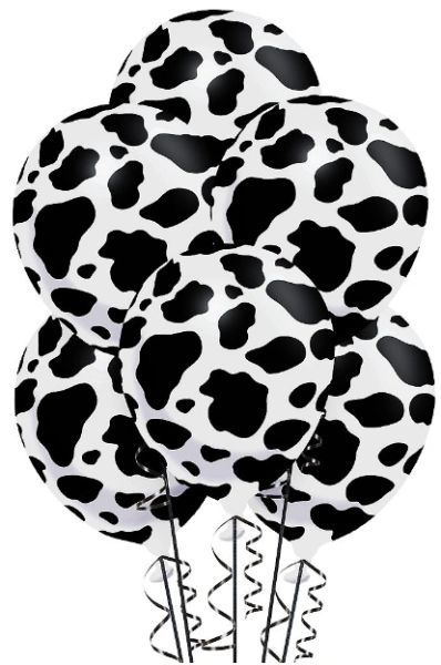 Cow Print Latex Balloons, 6ct