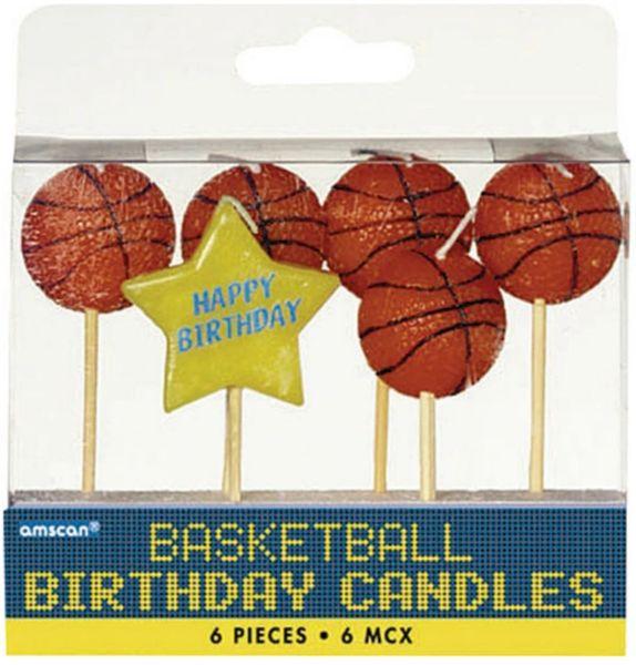 Basketball Birthday Toothpick Candle Set, 6ct