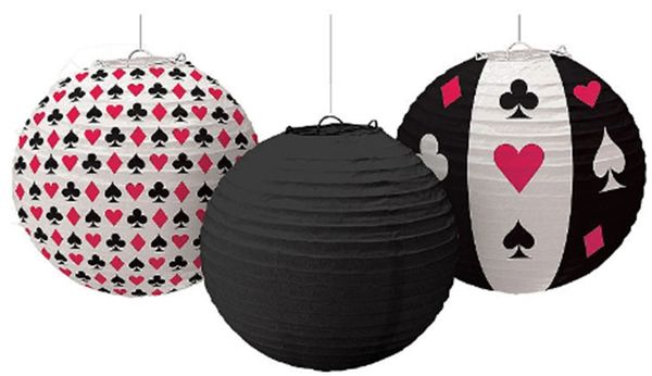 Place Your Bets Casino Paper Lanterns, 3ct