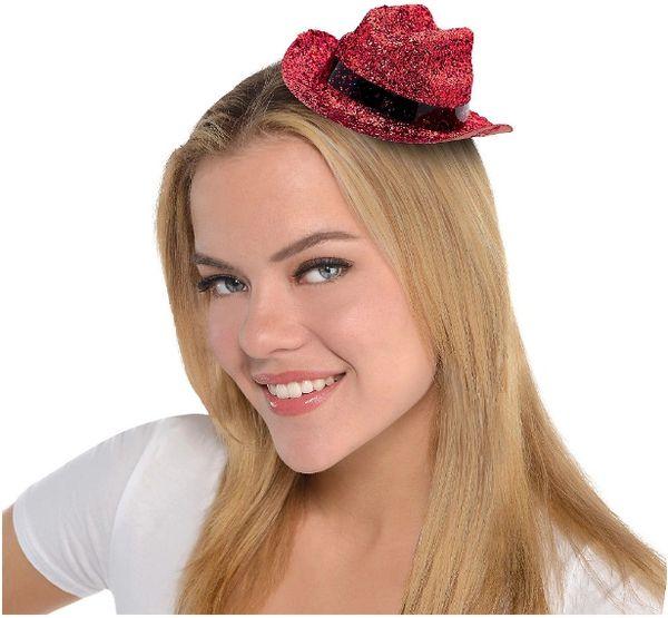 Red Glitter Mini Cowboy Hat