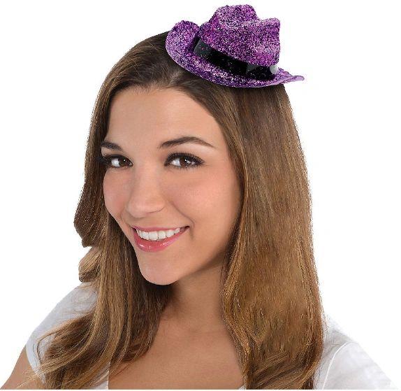 Purple Glitter Mini Cowboy Hat