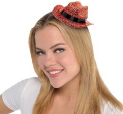 Orange Glitter Mini Cowboy Hat